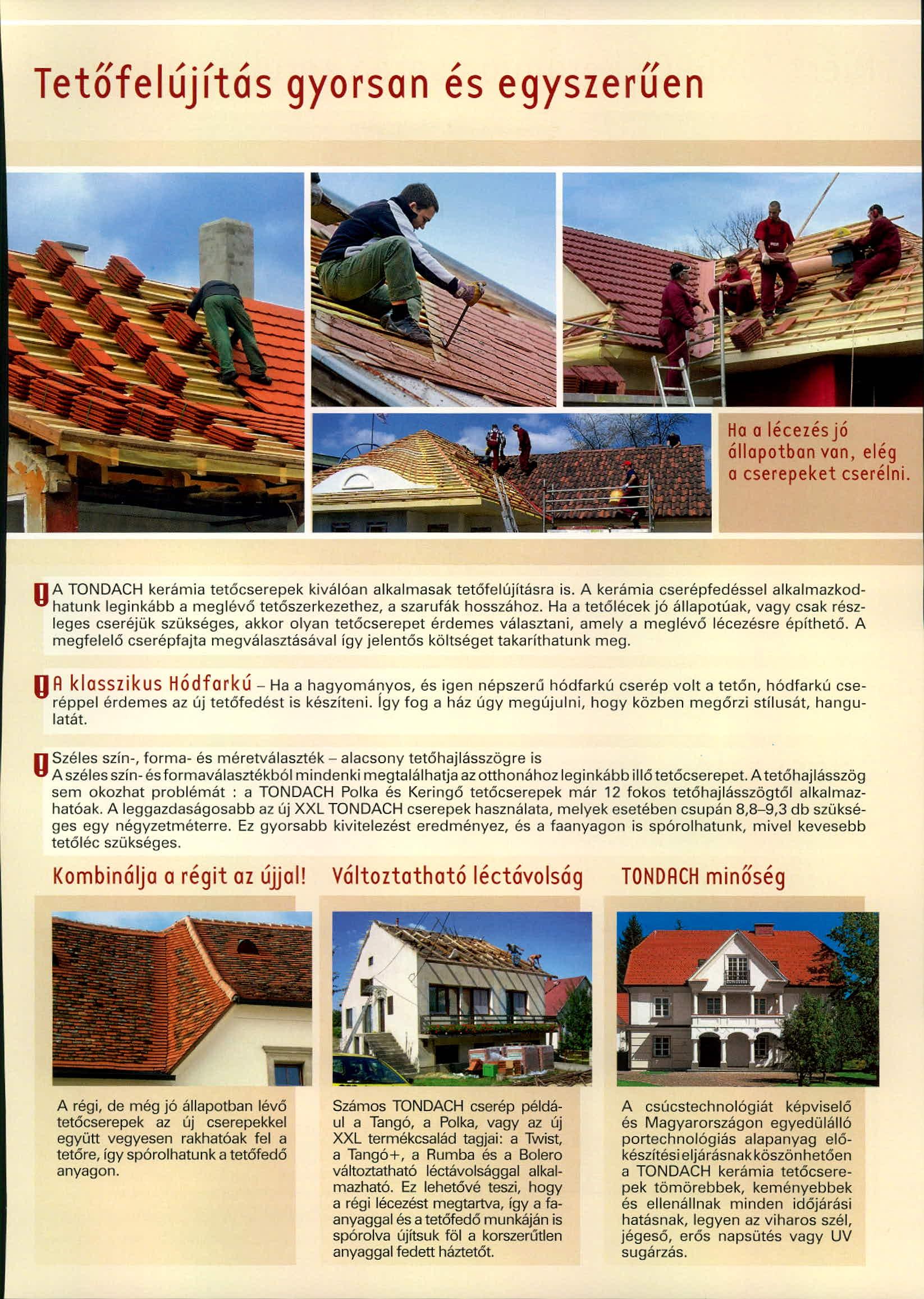 Tondach tetőcserép tetőfelújítás